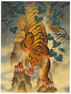 """Courage for What is to ComeDimensions 12x15.25""""High Dynamic Range (HDR) PigmentsPrinted on 100% Cotton Rag Japanese Tiger Art, Japanese Tiger Tattoo, Japanese Drawings, Oriental, Tiger Drawing, Year Of The Tiger, Tattoo Master, Asian Tattoos, Tiger Design"""