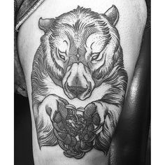 Grizzly Bear Tattoo by Sam Rulz IllustrativeTattoos Illustrative Etching Illustration Blackwork SamRulz grizzly bear grizzlybear