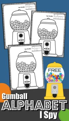 FREE I Spy Gumball Letters – kids will have fun practicing finding alphabet letters in these clever, free printable alphabet worksheets perfect for preschool, prek, and kindergarten age kids - Education and lifestyle Alphabet Kindergarten, Preschool Letters, Letter Activities, Kindergarten Literacy, Kids Alphabet, Literacy Activities, Alphabet Letters, Alphabet Books, Disney Alphabet