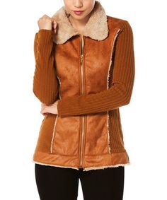 Taupe Faux Leather Zip-Up Jacket