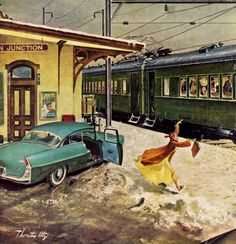 Forgot His Briefcase, detail from Saturday Evening Post cover February 2, 1957, art by Thornton Utz