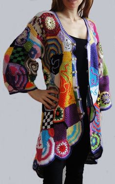 ORIGINAL crochet freeform coat - patchwork hippie vest jacket hippie dress boho…