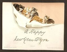 W55 - VICTORIAN CHRISTMAS CARD - CATS ON PAPER - HILDESHEIMER & FAULKNER. Helena Maguire.