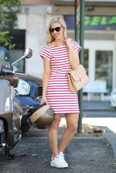 Vespa Style: Milly for Kohls striped T-shirt dress, Adidas 'Stan Smith' sneakers, Louis Vuitton 'St. Germain' bag dune leather, Vespa style, Italian fashion, T-shirt dress outfit for summer