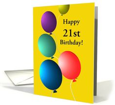 Custom Birthday for Age Specific Colorful Floating Balloons card