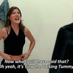 """That awkward moment when you find out """"Tina the Talking Tummy"""" and Debra Morgan are the same person! Lol, Jennifer Carpenter is an amazing actress! Tv Quotes, Movie Quotes, Funny Quotes, Food Quotes, White Chicks Movie, Jennifer Carpenter, Name That Movie, Funny Movies, Funniest Movies"""
