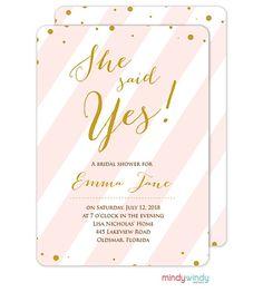 Pink and White Diagonal Lines Invitation | Zurianas Elegant Occasions #bridalshower