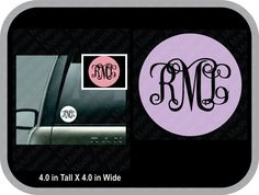 Inverted vine monogram decal car decal, round monogram car sticker, monogram decal, monogram decal glitter - pinned by pin4etsy.com
