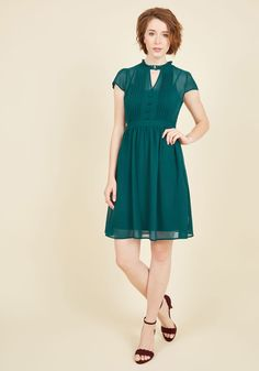 New Arrivals - Oh Say Can Museum A-Line Dress in Teal