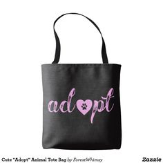 "Cute ""Adopt"" Animal Tote Bag"