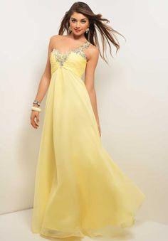 Pretty Yellow Sleeveless One Shoulder Long Chiffon Homecoming Dress with Beading