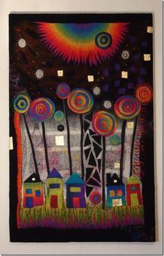 Hommage an Hundertwasser - Wandbild handgefilzt 120 x 80