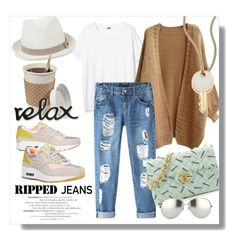 """""""Relax, they are only ripped..."""" by clovers-mind ❤ liked on Polyvore featuring NIKE, Chicnova Fashion, Chanel, Oasis, Linda Farrow, Marc by Marc Jacobs and rippedjeans"""