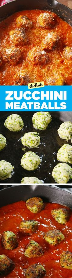 Zucchini meatballs - an awesome meat substitute for the vegetarian who loves spaghetti and meatballs!Healthy Zucchini Meatballs- shredded zucchini in meatball form. Use gluten free bread crumbs. (This was tasty but messy, my Zucchini balls did not st Zucchini Meatballs, Parmesan Meatballs, Cooking Recipes, Healthy Recipes, Meal Recipes, Cheese Recipes, Easy Cooking, Pasta Recipes, Cake Recipes