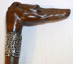 1897 SILVER MOUNTED WALKING STICK CANE DEPICTING CARVED GREYHOUND WHIPPET DOG HEAD W GLASS EYES