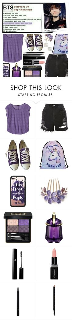 """""""BTS Polyvore 10 Day Challenge: Day 6"""" by carol-comt ❤ liked on Polyvore featuring Post-It, prAna, Topshop, Converse, Casetify, Gucci, Thierry Mugler, Smashbox, MAC Cosmetics and AK Anne Klein"""