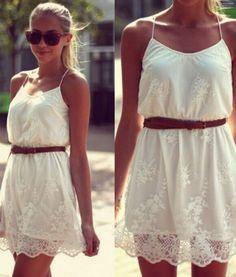 White Lace Mini Party Dress