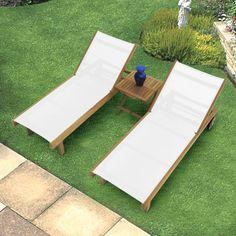 Have to have it. Royal Teak Sun Daze Chaise Lounge Set - $1594 @hayneedle.com