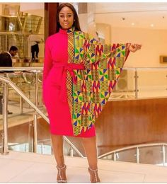Ankara women's clothing/ Cape short gown/ African print cape dress/ Dashiki long gown/ Prom dress/ K