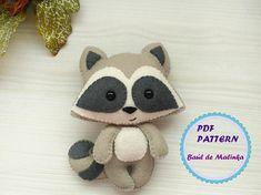 Felt raccoon ornament pattern woodland Plush sewing tutorial