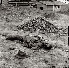 "April 1865. Petersburg, Virginia. ""Dead Federal soldier."""