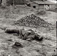 "April 1865. Petersburg, Virginia. ""Dead Federal soldier."""