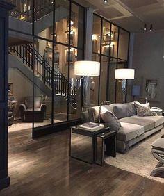 Ideas Farmhouse Interior Design Living Room Couch For 2019 Best Living Room Design, Dream Home Design, Modern House Design, Living Room Designs, Living Rooms, Modern Houses, Loft House Design, Modern Mansion, Spacious Living Room
