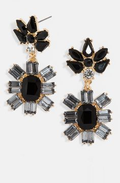 Sparkly black and gold drop earrings for fall.
