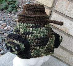 You're In The Army Now Tank Beanie  - PDF Crochet Pattern. $3.99, via Etsy.
