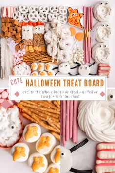 Create this cute Halloween Treat Board for your party or snag a few ideas to pop into your kid's lunch leading up to Halloween! #halloweentreats #candyboard #treattray #treatboard