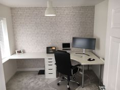 Spare Room Office, Ikea Office, Home Office Setup, Home Office Space, Home Office Design, Home Office Furniture, Ikea Corner Desk, Corner Office, Ikea Linnmon Desk