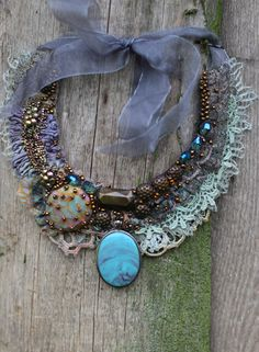 Seamist-- bohemian, shabby chic bold statement necklace from antique and vintage textiles, hand beaded
