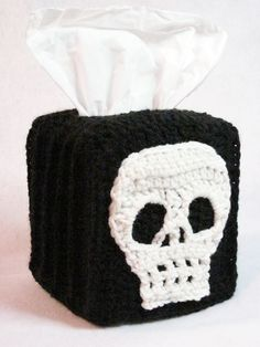 Skull Tissue Box Cover in Black and Bone by DesigningImpressions, $21.00