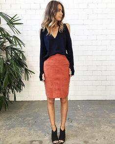 Splice X Splice Boutique The Olivia Suede Pencil Skirt || Splice Boutique #fashion #clothing #boutique