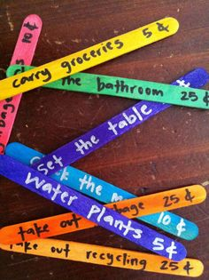 DIY kids chore sticks- cute to add a value on it... A must for this summer!
