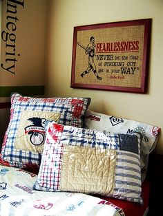 Love the burlap art. Will look for quote to go with his vintage Detour sign.