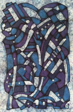 Blue Batik with Ink Finish - 2012 - Kevin Houchin  I did this before I had heard of Zentangle, but I think it would qualify.