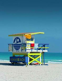 Lifeguard Shack, South Beach, Miami. South Beach, nicknamed SoBe, is located due east of Miami proper, between Biscayne Bay and the Atlantic Ocean. (V)