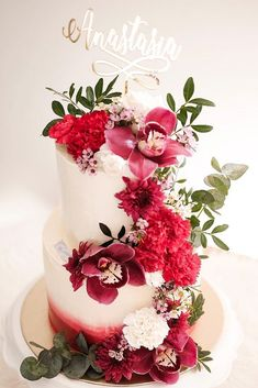 beautiful wedding cakes red flower cascade k.pastries #weddingcakes