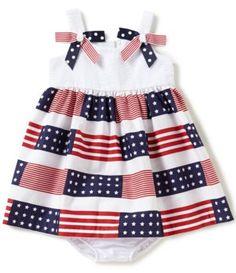 Bonnie Baby Girls 12-24 Months Americana Stars-And-Stripes A-Line Dress #Dillards