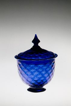 *COBALT BLUE SUGAR BOWL ~ made in: United States; England, American or British. Medium: Blown pattern-molded glass...c.1769-1775.