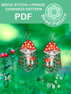 Brick Stitch Earrings, Seed Bead Earrings, Fringe Earrings, Beaded Earrings Patterns, Seed Bead Patterns, Beading Patterns, Beading Techniques, Beading Tutorials, Beadwork Designs
