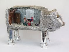"""Geoff Latz specialises in """"Upscaling"""", using scrap materials to create intricate pieces, often reflective of historic artifacts, many of which are kinetic.  See his work in the Open Houses, 28th-30th May 2016 #Saltaire #pig"""
