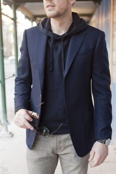 Hoodie, blazer and jeans