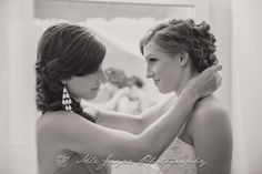 I teared up at this photo of bride Katie with her Matron of Honor/older sister Sara, as Sara helped her put on a perfect string of pearls given by their mother. I had the immense honor of photographing Sara's wedding 4 years ago, and she is one of my best friends, so I've known & loved this family for years. Their beautiful momma Cheryl went on to heaven 3 years ago after a difficult fight with cancer, and it was so precious seeing the ways they honored her during the wedding celebratio