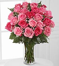 Pink Rose Bouquet with Baby's Breath