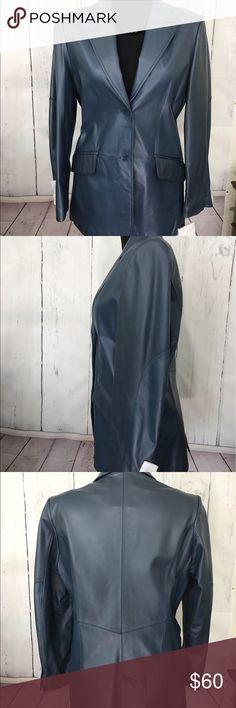 PAMELA MCCOY BLUE LEATHER BLAZER JACKET NWT Pamela McCoy Blue Leather Blazer Jacket 100% Leather 100% Polyester Lining Size M PAMELA MCCOY Jackets & Coats