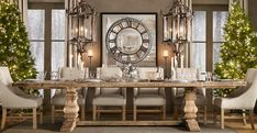 Contemporary Dining Room with Restoration hardware salvaged wood trestle rectangular extension dining table, Chandelier