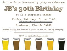 """30th birthday party ideas- I like the """"please bring one 6 pack..."""" the beer exchange could be the favor"""