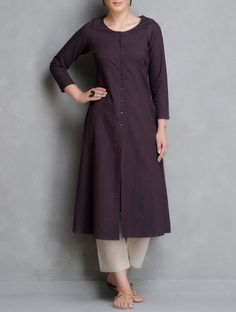 Maroon Button Down Open Placket Chambrey Kurta